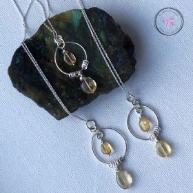 Citrine Silver Circles Healing Pendant Necklace